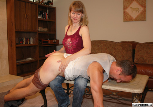 Clare Fonda punishes Bart for cheating on her in this Femdom spanking