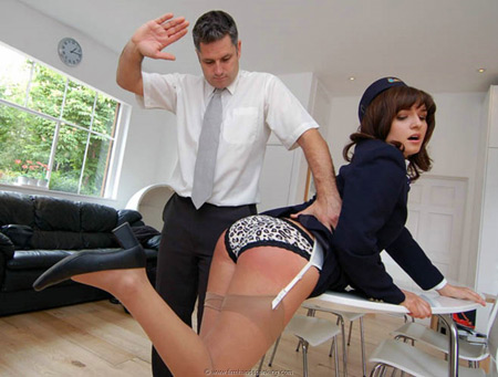 Flight attendant, Samantha Woodley, gets her panties pulled down for a spanking on her bare bottom
