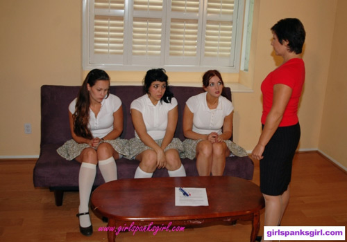 Miss Morgan is unhappy with the three schoolgirls' behavior