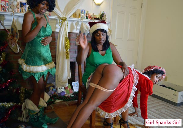 Ivy Sherwood gets an OTK Christmas Spanking
