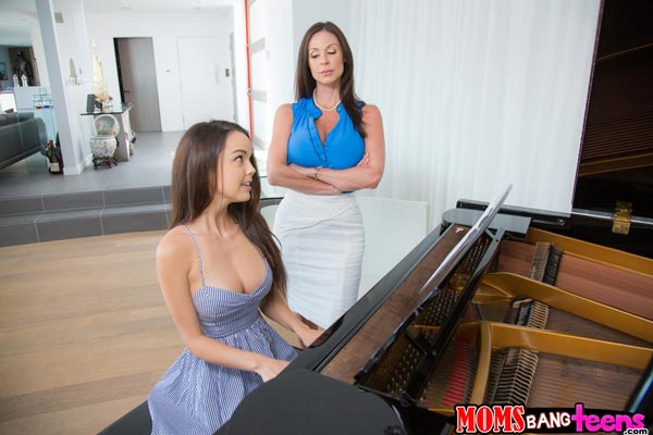 Stepmom Kendra Lust watches Dillion Harper play the piano