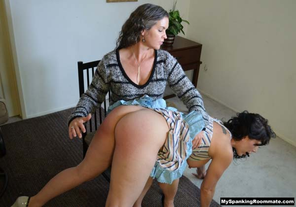 MzFionaX does a great job at spanking Kay's big, round bottom
