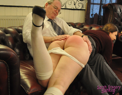 Bare bottom rubbing after spanking