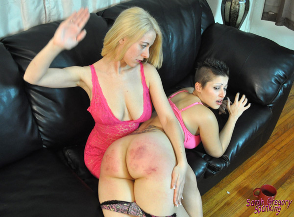 Sarah Gregory spanks Galas Loonar's red, round bottom