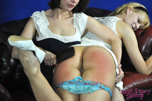 Sarah uses the hairbrush on poor Amelia Jane's bottom until it breaks