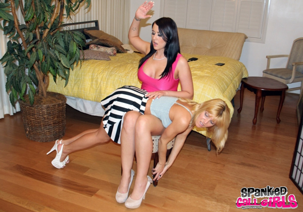 Alexis Grace spanks Niki Lee Young over her striped skirt OTK
