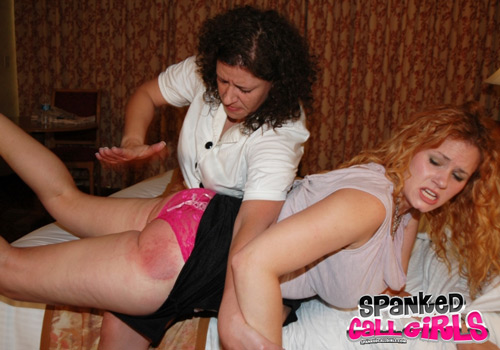Jenni Mack gets a very hard spanking over her panties and on the bare