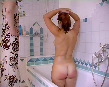 Sophie spanked Outdoors and in the Bath
