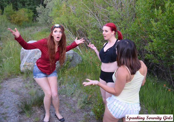 Veronica Ricci, Lana Lopez and Amelea Dark in Lost Map Woods Spankings on Girl Spanks Girl