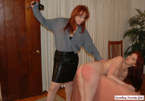 Veronica gets a nude punishment from her mom with the belt when she is caught masturbating