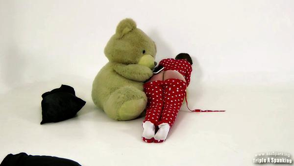 Zoe Page and her teddy bear spanking Alex Reynolds