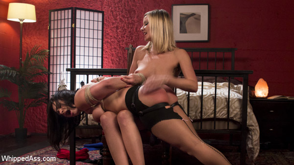 Lesbian spanking with Maitresse Madeline Marlowe and Lea Lexis at Whipped Ass