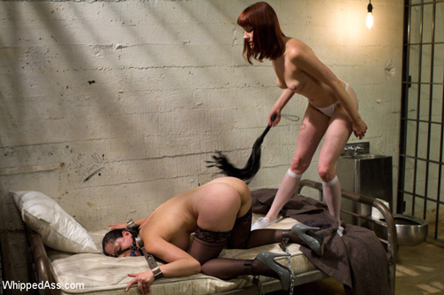 Sexy prisoner Maitresse Madeline whips her lawyer Angell Summers