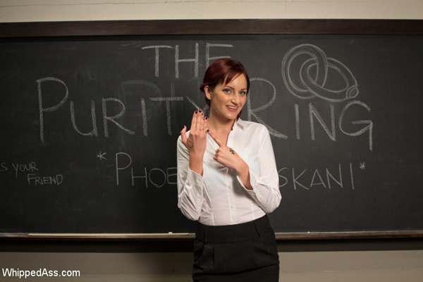 Phoenix Askani loves lesbian BDSM and plays a pre-med student who's the president of The Purity Ring