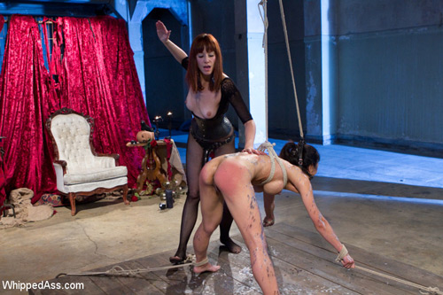 Busty Asian Tia Ling gets tied up and spanked by Maitresse Madeline